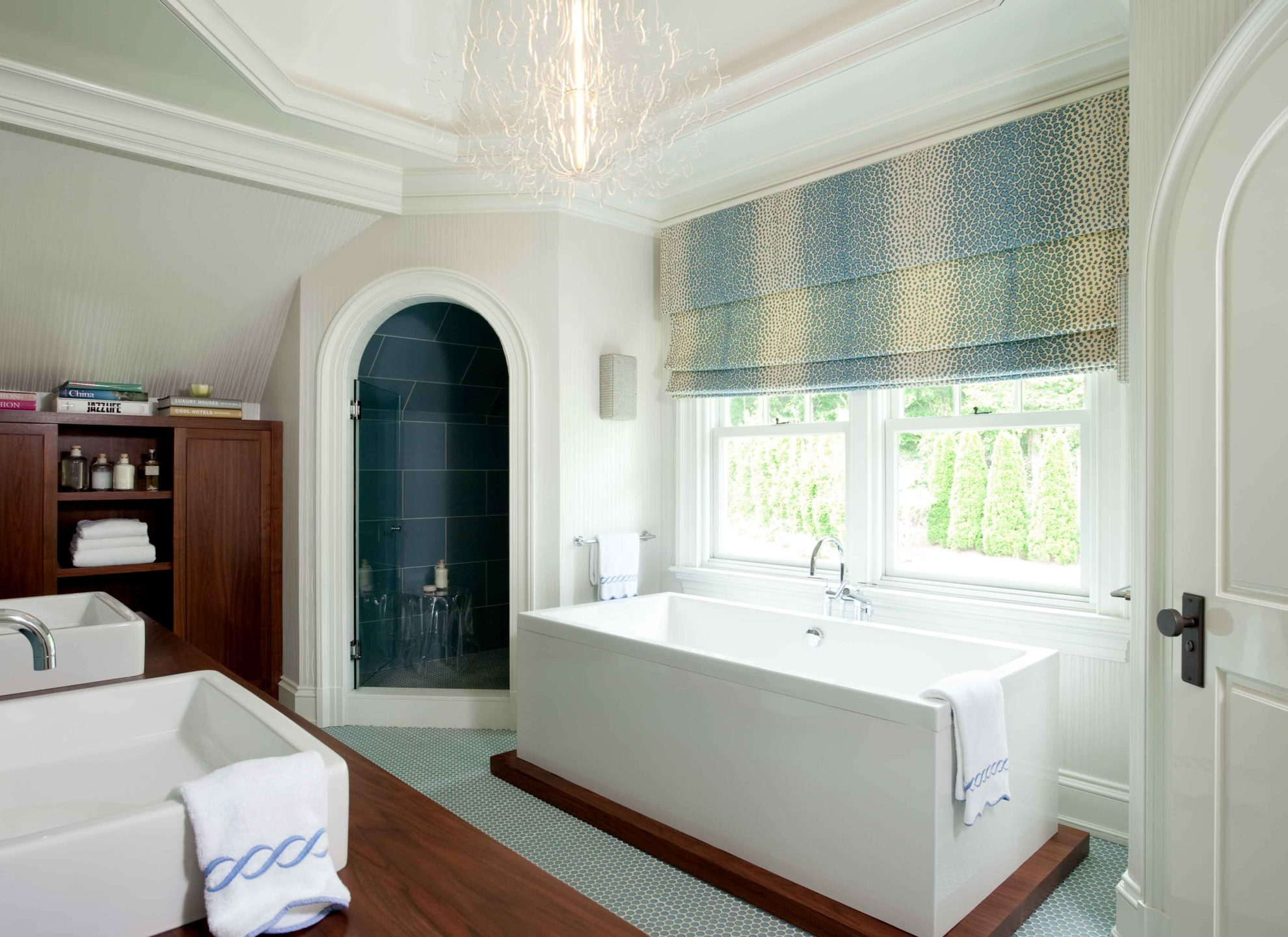 Nicole-Fuller-Interiors-Dutchess-Suffern-Estate-bathroom-rectangular-freestanding-tub-arched-shower-door-new-york-interior-designer