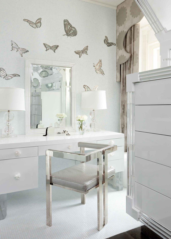 Nicole-Fuller-Interiors-Dutchess-Suffern-Estate-bathroom-vanity-boudoir-butterflies-white-mirrored-chair-new-york-interior-designer