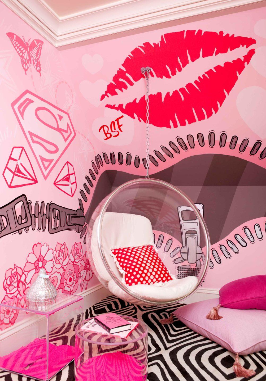 Nicole-Fuller-Interiors-Dutchess-Suffern-Estate-kids-room-pink-lips-wallpaper-bubble-hanging-modern-chair-new-york-interior-designer