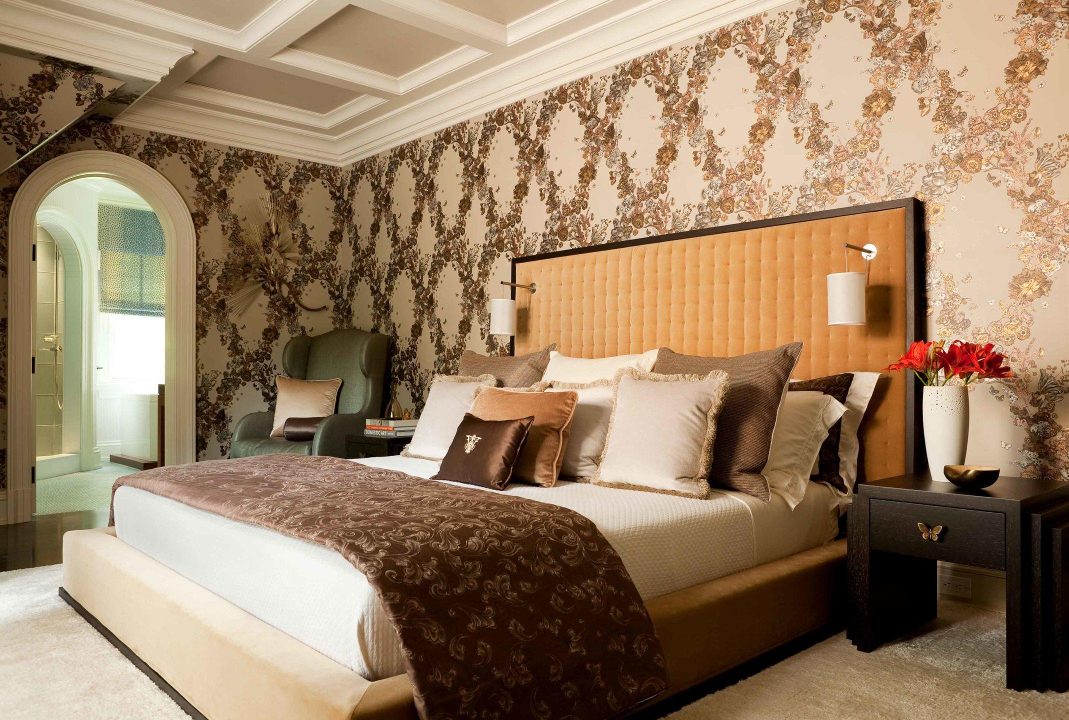 Nicole-Fuller-Interiors-Dutchess-Suffern-Estate-master-bedroom-chocolate-brown-caramel-coffered-ceiling-new-york-interior-designer